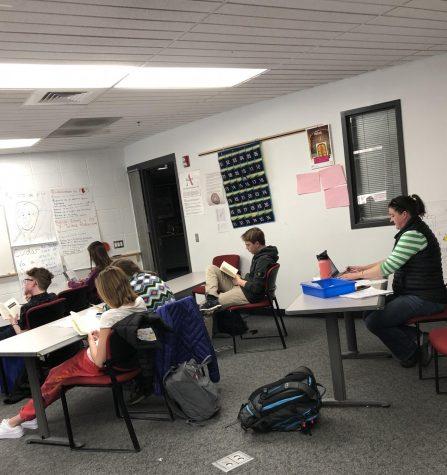 Sarah Benson, AHS biology teacher, shown substitute teaching for Brittany Hoefert