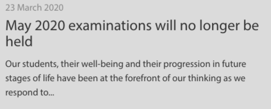 Visit ibo.org for more information regarding the cancellation of  IB exams.