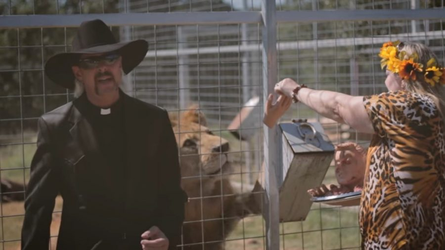 Carole Baskin look-alike feeding Don Lewis to a lion in Joe Exotic's music video
