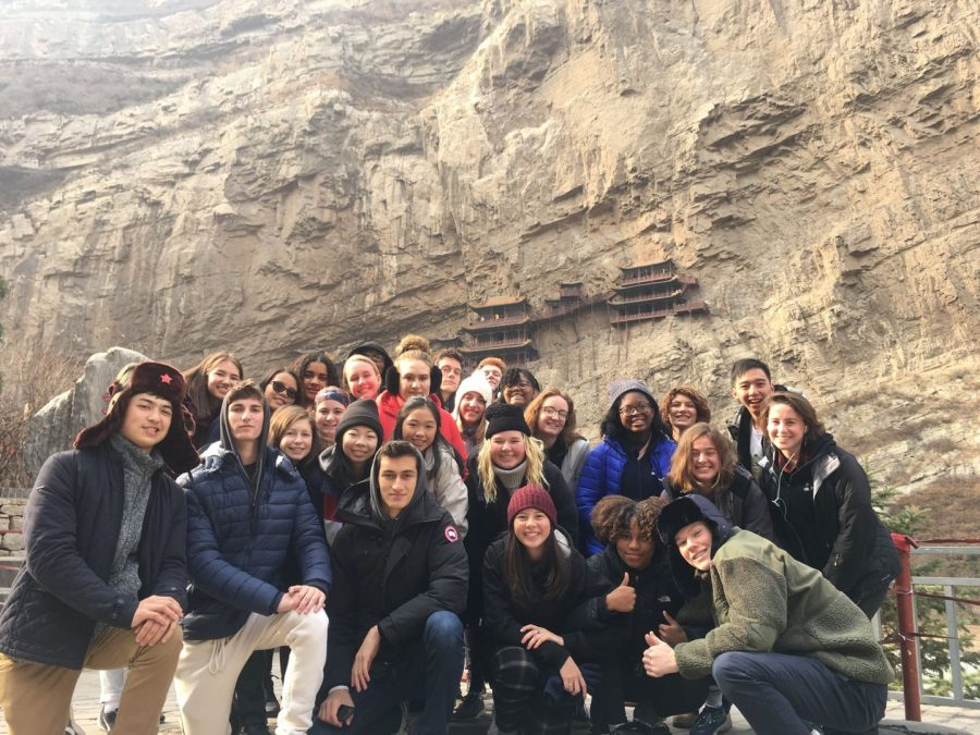 The class of SYA (School Year  Abroad) 2020 posing in front of the Hanging Monastery in Pingyao Gucheng, Shanxi.