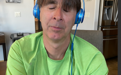 Local Tim Reed listening to music during quarantine.
