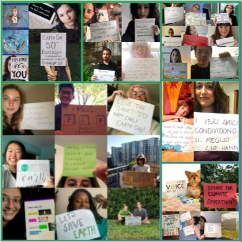 A collage showing climate activists protesting virtually around the world last week.