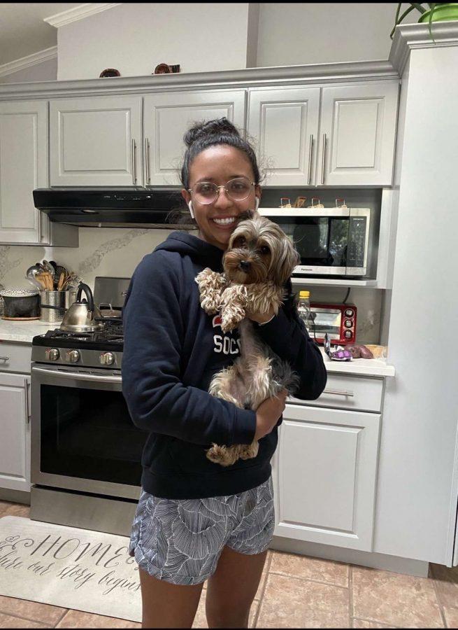 Karen+Galvan+holds+her+Yorkie+Terrier%2C+Mango%2C+in+her+house+during+quarentine.