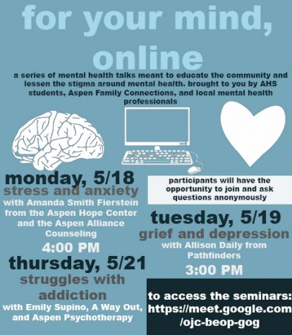"Poster for the ""For the Mind, Online"" sessions, created by Emily Kinney, Jack Blocker, and Hannah Yeary."