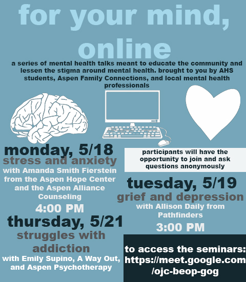 """Poster for the """"For the Mind, Online"""" sessions, created by Emily Kinney, Jack Blocker, and Hannah Yeary."""