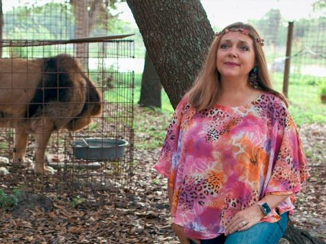 Carole Baskin and one of her caged tigers.