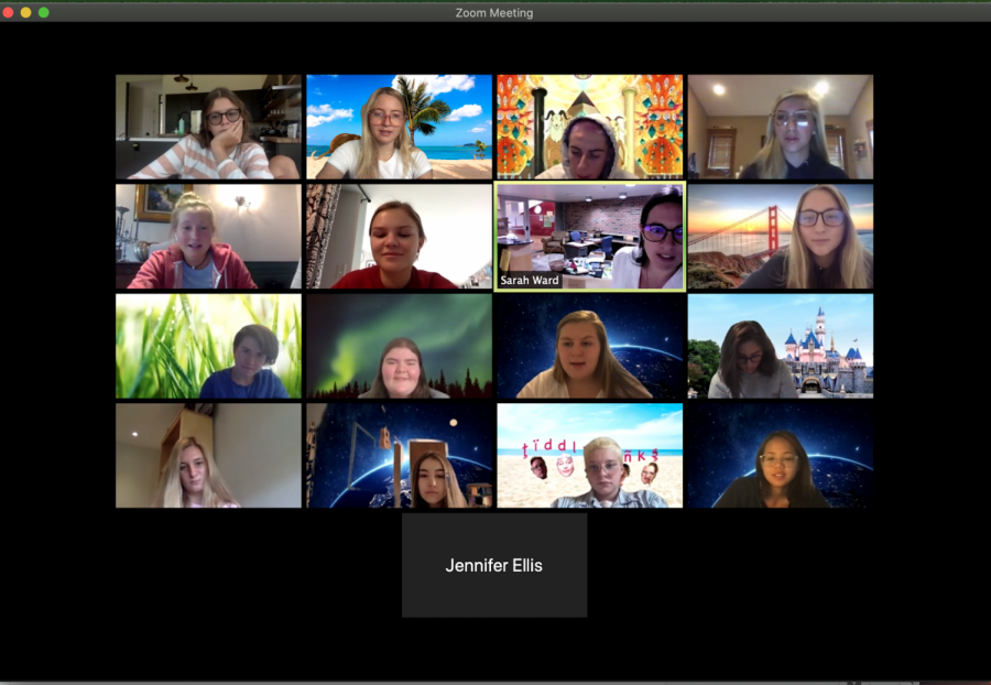 Members of the Journalism class uses backgrounds in their Zoom call.