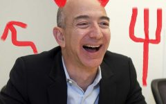 Jeff Bezos depicted as the Devil.