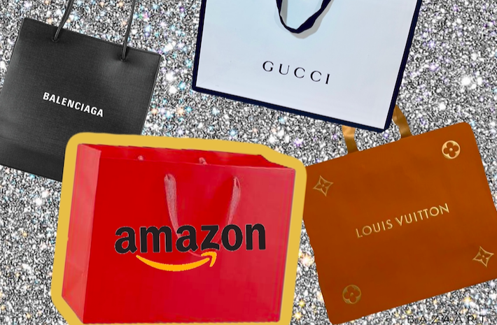 Luxury shopping bags including Gucci, Louis Vuitton, Balenciaga... and now even Amazon?