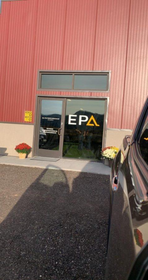 The entrance into the EPA sports warehouse.
