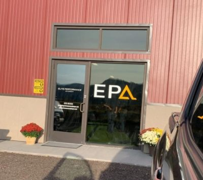 The entrance into the EPA sports warehouse.