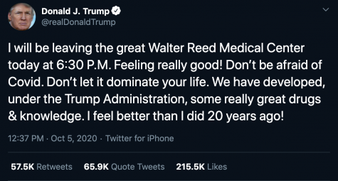Tweeted on October 5 when Pres. Trump left Walter Reed Hospital.