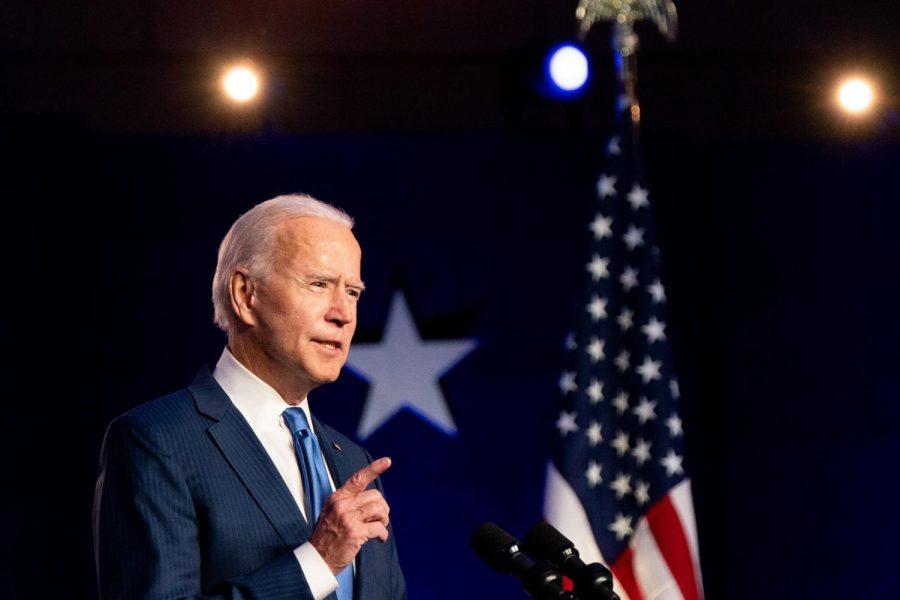 Joe Biden delivering a speech to the American Public.