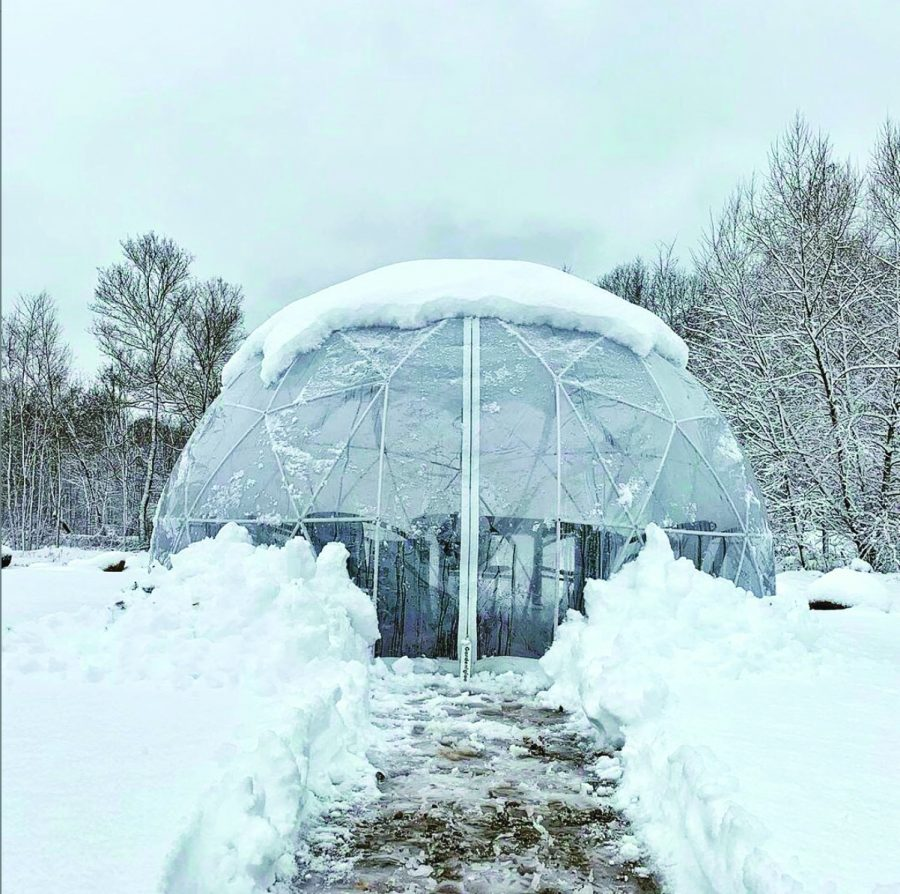 Igloo structure that will be used by many restaurants to make outdoor dining on the mountains safer and warmer.