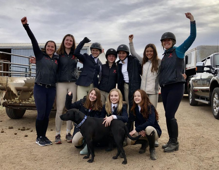 Members+of+the+Aspen+Equestrian+Team+celebrate+after+a+show+last+year.