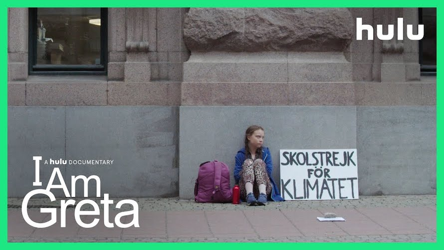 Greta+Thunberg+sits+outside+of+the+Swedish+Parliament+in+the+poster+for+the+2020+Hulu+film+I+am+Greta.