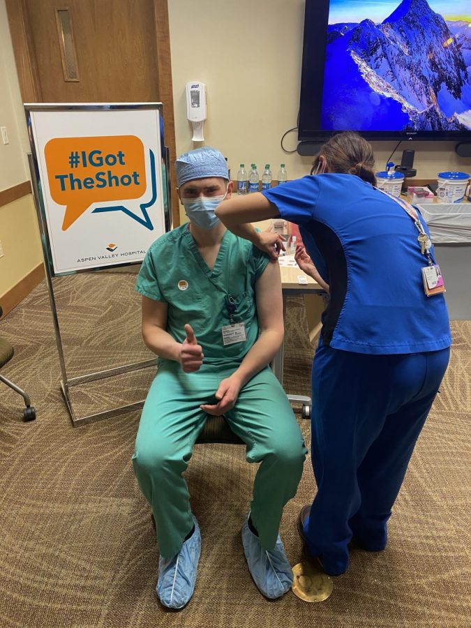 Luke O'Callaghan, AHS graduate and current AVH Operating Room Purchasing Agent, receives his vaccine as part of the 1A group in early January.