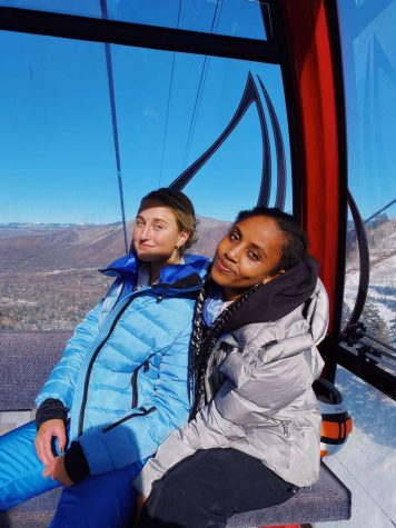Alexis Tarumianz (left) and Tigist Peshek enjoy skiing with each other over the holiday season.