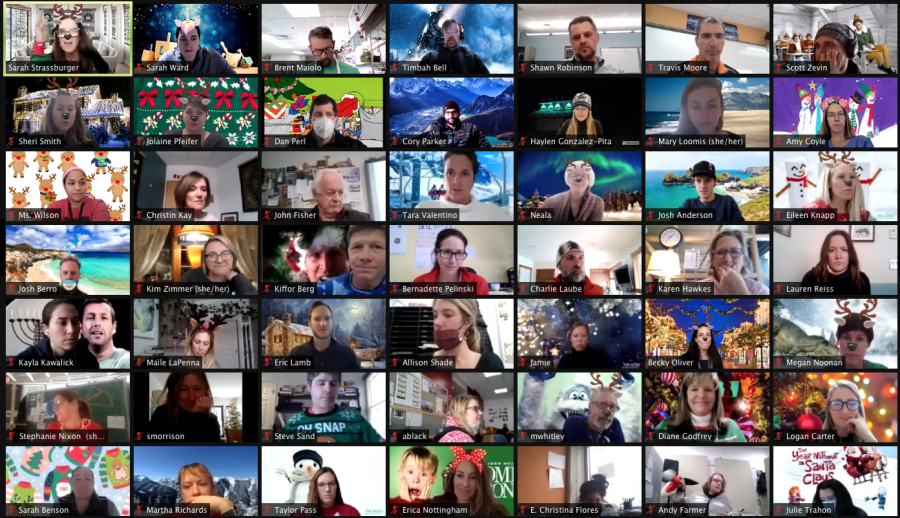 AHS Staff gathers on Zoom a few days before winter break 2020.
