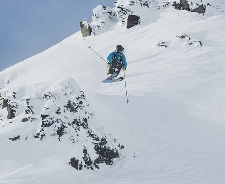 Shot of athlete Victor Major skiing in Iceland