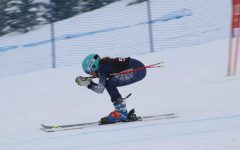 AHS student zipping down Thunderbowl at Highlands during race in 2019.