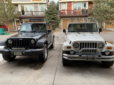 Two manual transmission (also known as stick shift) Jeeps that are driven today