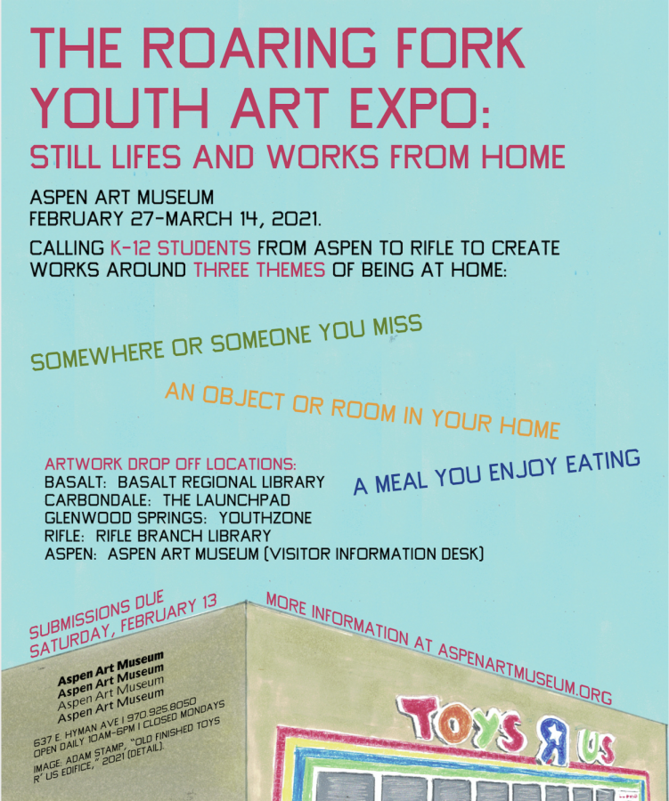 Informational poster with instructions on how to submit work for the youth exhibition.