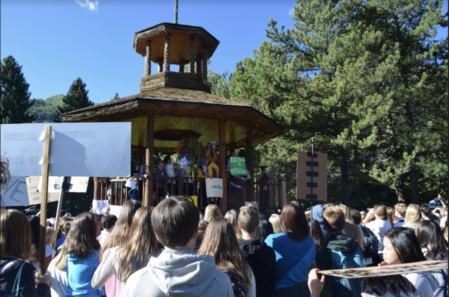 AHS students gathered at Paepcke park in 2019 after school walkout to protest climate change.