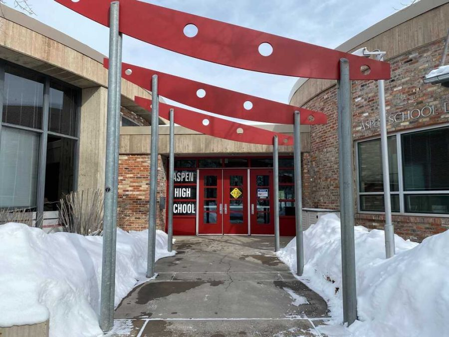 The entrance of Aspen High School taken on February 17.