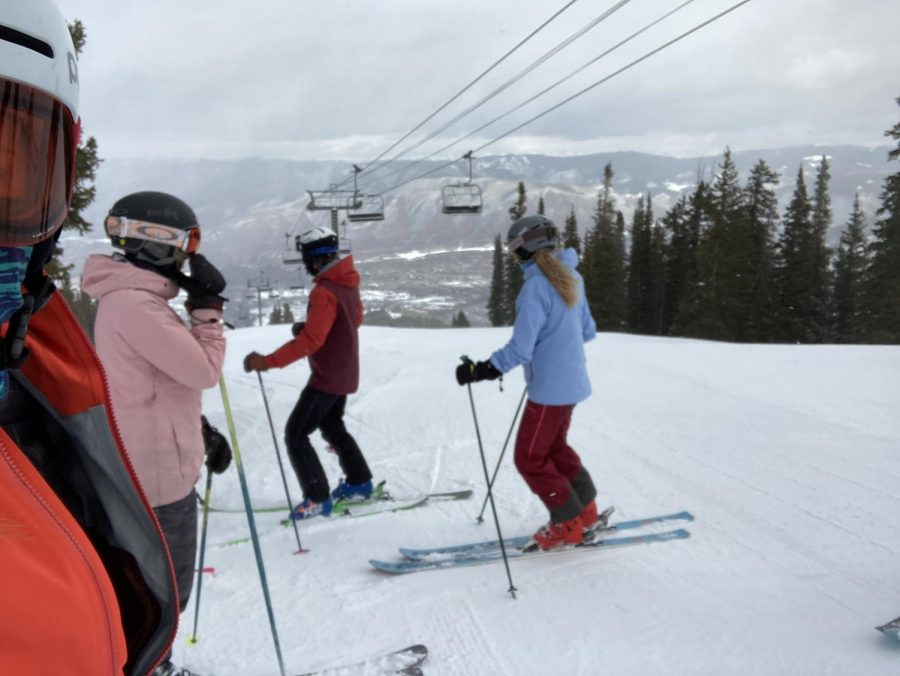 AHS students prepare for their PSIA exam on the slopes.