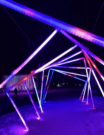 Snowmass Luminescence light show, in the middle of The Tunnel, with Submergence in the back