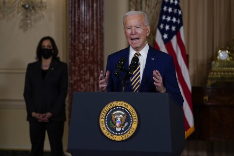 President Biden speaks to reporters on new policies in Washington, D.C. on 2/4/21.