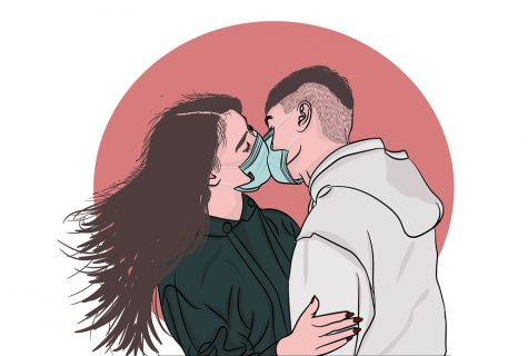 Illustration depicting modern love: love in the time of corona.