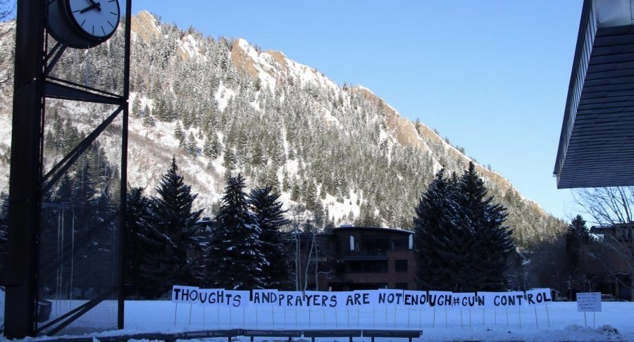 Signs placed in Aspen's Wagner Park by AHS students Gabby Yturri, Elijah Goldman, and Lian Lilah.
