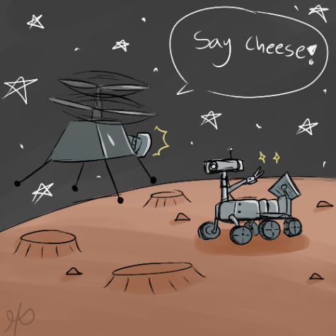 Nasas drone takes pictures of the mars rover