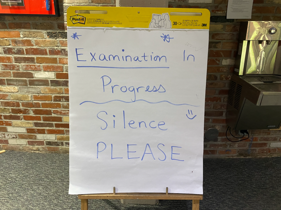 IB Exam sign outside of AHS Skier Dome where most IB Exams took place
