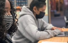 Gia Galindo Bartley and Areysi Galvan, freshmen at Aspen High School in Aspen Colo., working in class while wearing face masks on Wednesday, Sept. 29, 2021.
