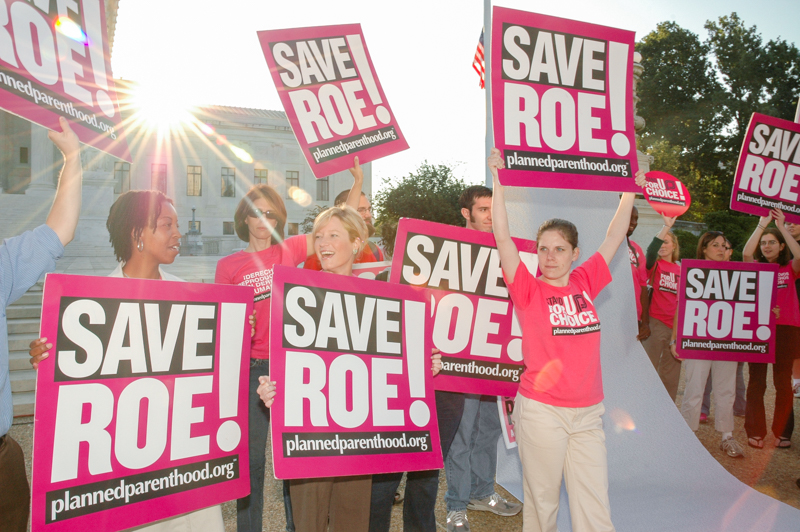 Pro-choice protesters fight to save the Roe .v Wade case of 1973, which rules abortion as a civil right under the US constitution.