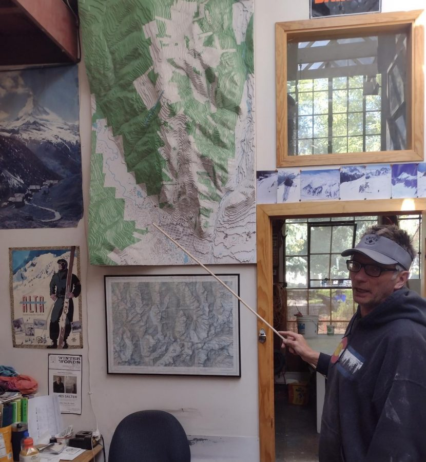 City council member and Pandoras expansion opposer John Doyle pointing out the Northstar nature preserve in his studio in aspen